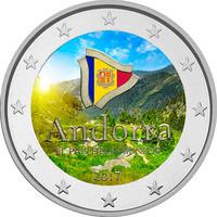 Andorra 2 € 2017 Maa Pyreneillä väritetty