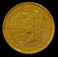 Itävalta 2 € 2018 Itävallan tasavalta 100 vuotta kullattu