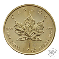 Kanada 2018 Maple Leaf hopearaha 1 oz kullattu