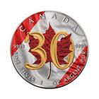 Kanada 5 $ 2018 Maple Leaf 30 vuotta 1oz Ag VÄRITETTY