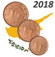 Kypros 1s, 2s & 5s 2018 UNC