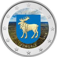 Latvia 2 € 2018 Zemgale väritetty