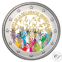 Andorra 2 € 2018 Ihmisoikeudet 70 vuotta väritetty