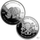 Tšad 5000 frangia 2018 Mandala Rhino 1 oz Ag