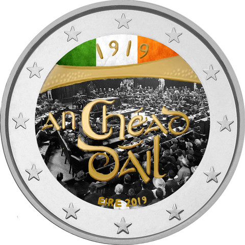 Irlanti 2 € 2019 Dáil Éireann väritetty