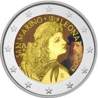 San Marino 2 € 2019 Leonardo da Vinci 500 v. BU väritetty