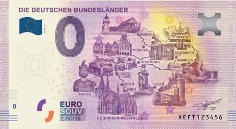 Saksa 0 euro 2019 Nordrhein-Westfalenin osavaltio /Bundesländer UNC