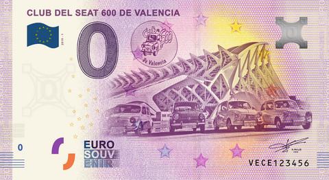 Espanja 0 euro 2019 Club del Seat 600 de Valencia UNC