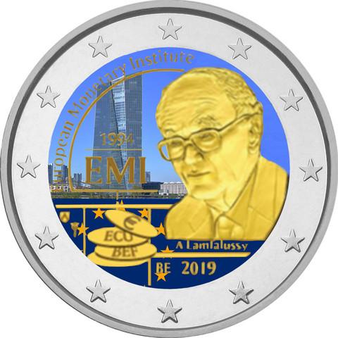 Belgia 2 € 2019 Euroopan rahapoliittinen instituutti, väritetty (#1)
