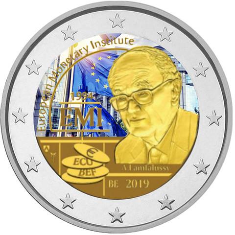 Belgia 2 € 2019 Euroopan rahapoliittinen instituutti, väritetty (#2)