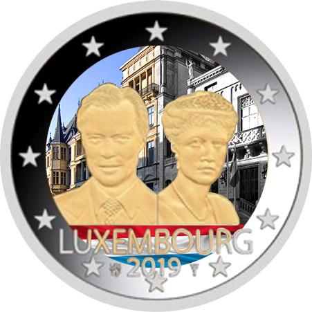 Luxemburg 2 € 2019 Charlotte 100 v., väritetty (#2)