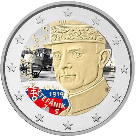 Slovakia 2 € 2019 Milan Rastislav Štefánik, väritetty (#2)