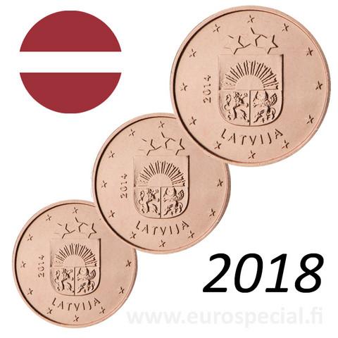 Latvia 1s, 2s & 5s 2018 Vaakuna BU kapseleissa