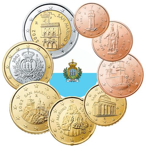 San Marino 1s - 2 € sekavuodet, vanha kuva-aihe UNC