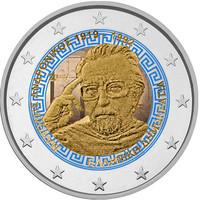 Kreikka 2 € 2019 Manolis Andronikos 100 v., väritetty (#2)