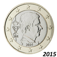 Belgia 1 € 2015 Kuningas Philippe BU kapselissa