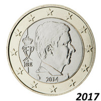 Belgia 1 € 2017 Kuningas Philippe BU kapselissa