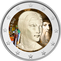 Italia 2 € 2019 Leonardo da Vinci 500 v., väritetty (#1)