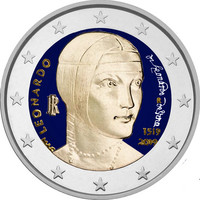 Italia 2 € 2019 Leonardo da Vinci 500 v., väritetty (#2)