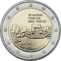 Malta 2 € 2019 Ta' Hagratin temppelit F- merkinnällä