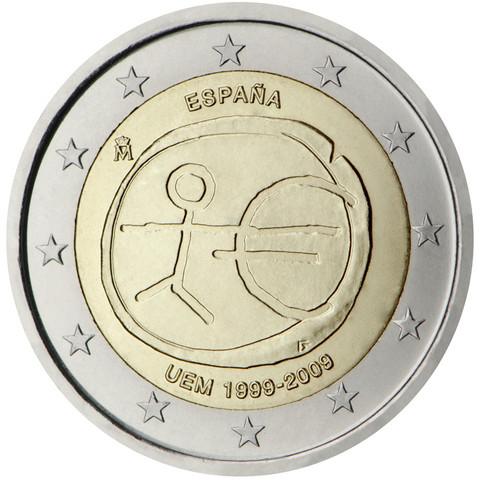Espanja 2 € 2009 EMU virhelyönti isoilla tähdillä