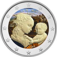 San Marino 2 € 2019 Filippo Lippi 550 v. väritetty (#2)