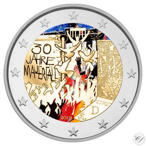 Saksa 2 € 2019 Berliinin muuri 30 v. väritetty (#1)