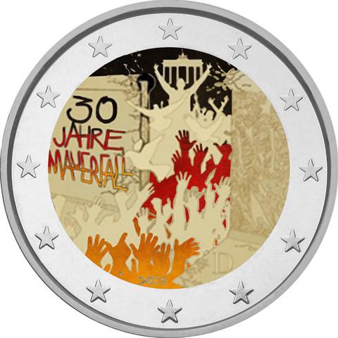 Saksa 2 € 2019 Berliinin muuri 30 v. A-J väritetty (#2)