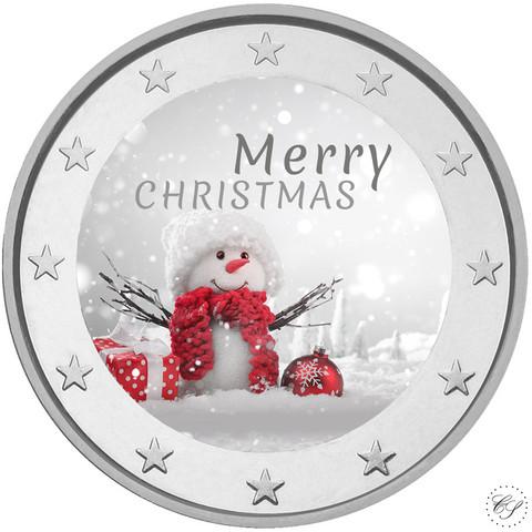 Hyvää Joulua! 2 €- juhlaraha, väritetty (#3)