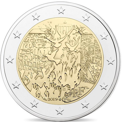 Ranska 2 € 2019 Berliinin muurin murtuminen 30 v.