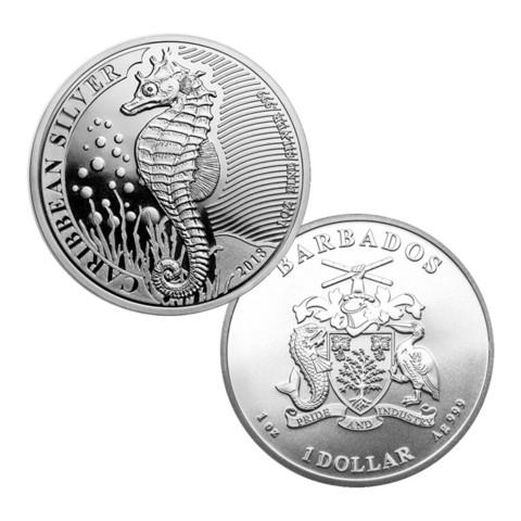 Barbados 1 $ 2019 Karibian merihevonen 1 oz Ag