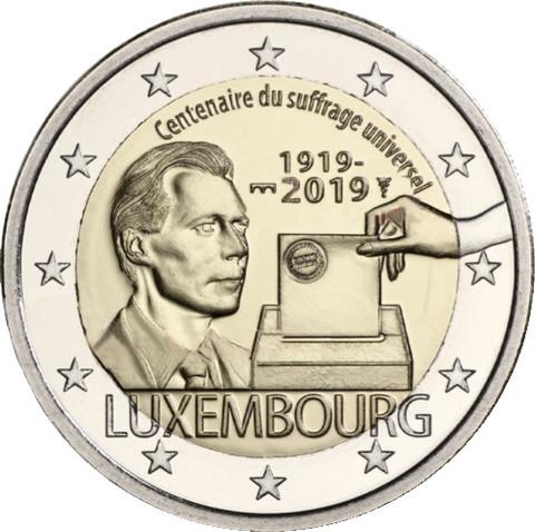 Luxemburg 2 € 2019 Yleinen äänioikeus 100 v. BU Silta-mintmark