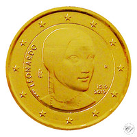 Italia 2 € 2019 Leonardo da Vinci 500 v. kullattu