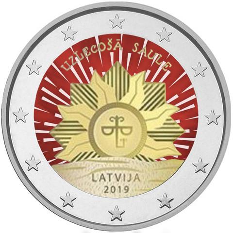 Latvia 2 € 2019 Vaakuna - Nouseva aurinko, väritetty (#1)