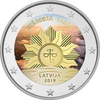 Latvia 2 € 2019 Vaakuna - Nouseva aurinko, väritetty (#2)