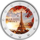 Pariisi & Eiffel-torni 2 € 2019 -juhlaraha, väritetty