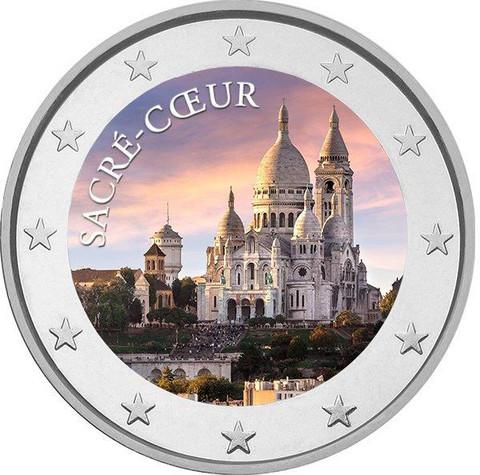 Pariisi & Sacre Coeur 2 € 2019 -juhlaraha, väritetty