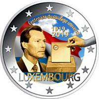 Luxemburg 2 € 2019 Yleinen äänioikeus 100 v., väritetty (#1)