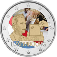 Luxemburg 2 € 2019 Yleinen äänioikeus 100 v., väritetty (#2)