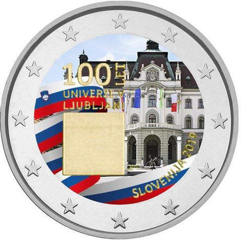Slovenia 2 € 2019 Ljubljanan yliopisto 100 vuotta, väritetty (#2)