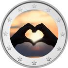 Ystävänpäivä 2 € 2020 -juhlaraha, väritetty (#2)
