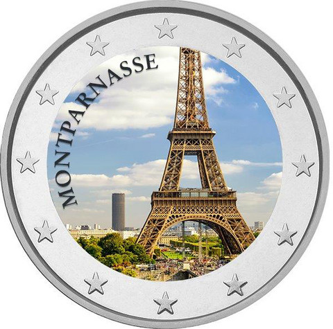 Montparnasse 2 € 2020 -juhlaraha, väritetty (#4)