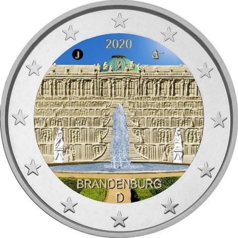 Saksa 2 € 2020 Brandenburg & Sanssouci A-J, väritetty (#1)