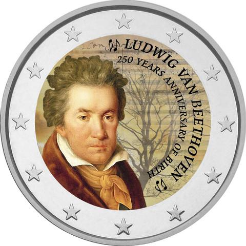 Ludwig van Beethoven 250 v. 2 € -juhlaraha, väritetty