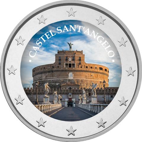 Castel Sant'Angelo 2 € -juhlaraha, väritetty