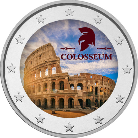 Colosseum & Rooma 2 € -juhlaraha, väritetty