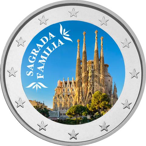 Sagrada Familia 2 € -juhlaraha, väritetty