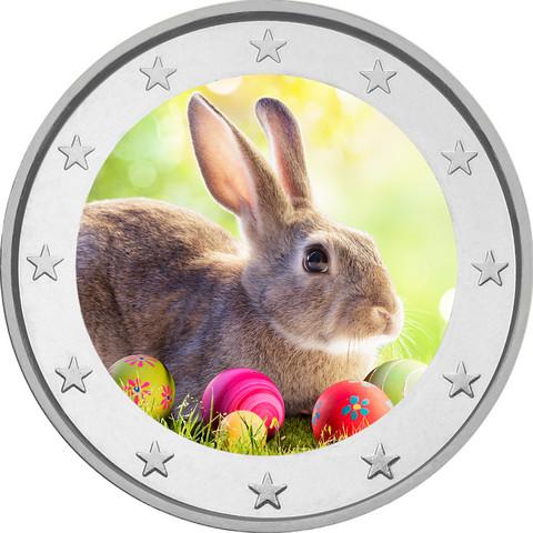 Pääsiäinen 2 € -juhlaraha, väritetty (#2)