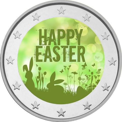 Pääsiäinen 2 € -juhlaraha, väritetty (#3)
