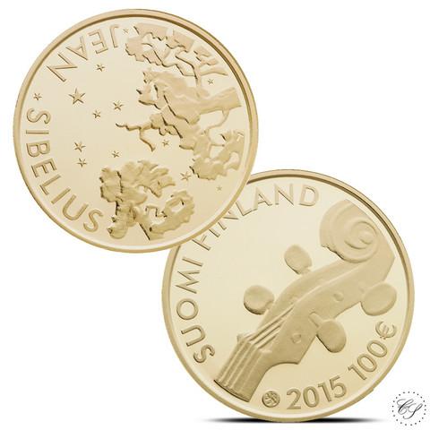 Suomi 100 € 2015 Jean Sibelius 150 vuotta kultaraha